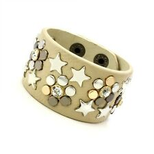 Cool New Women's Fashion Beige Stars Flower Genuine Leather Cuff Bracelet Gift
