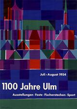 Otl Aicher 1100 ans ulm affiche de 1954 DIN a1 super rare design/graphique