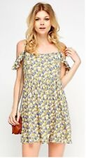 *NEW* EX NEW LOOK YELLOW  FLORAL COLD SHOULDER SUMMER FESTIVAL SUN DITSY DRESS