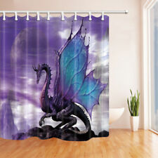Mystic Purple Dragon Waterproof Fabric Shower Curtain Extra Long 84 Inches