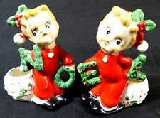 Commodore 1950s Noel Pajama Kids Candle Holders Set Vintage Kitschy Christmas