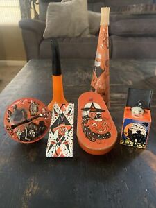 Antique Collection Lot 6   HALLOWEEN  Tin TOYs  Noise Makers Lot Plastic Witches