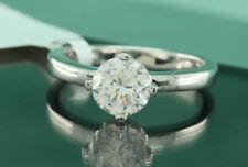 1.5 Carat D VVS1 Diamond Engagement Ring Round Cut 14K White Gold Enhanced 9