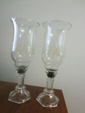 2 BEAUTIFUL VINTAGE CANDLESTICKS WITH HURRICANE GLOBES