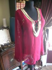 NWT Only Nine Red Embellished Cover Up Tunic Sheer 22/24 Beach FREE SHIPPING!