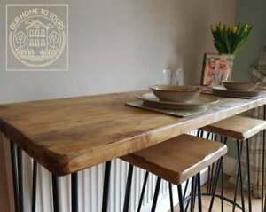 Reclaimed wooden industrial console bar and table Hairpin legs