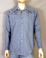 vtg 60s 70s NOS NWOT Grant's Rainbow Embroidered Chambray Denim Shirt sz L