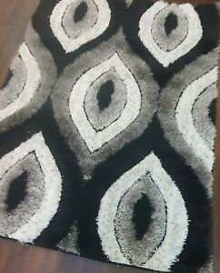 PUFFY RUG TOP QUALITY WOVEN 3D DESIGN LUXURY RUGS GREY/BLACK 120X160CM APP 6X4FT