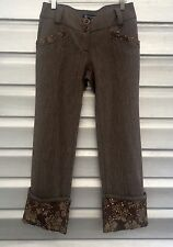 RINASCIMENTO Brown Embellished Cuffed Crop Trouser Pants
