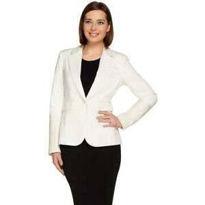 G.I.L.I. Size 16 Faux Leather Trim Blazer Long Sleeve Two Pockets Fitted VANILA
