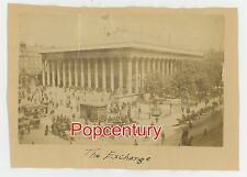 Vintage 1880s France Paris Albumen Photograph The Exchange Street Scene Mounted