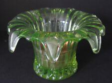 Unusual & Lovely Floral Form Vaseline Glass Roll Petal Edge Vase W/ Brass Insert