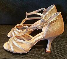 "Capezio BR159 Nadia 2.5/"" Heel Latin Ballroom Shoes Pale Gold PGL NIB"