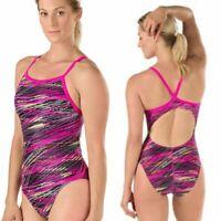 NWT Speedo Women's Powerflex Eco Racer Back One Piece Swimsuit Pink Size 26