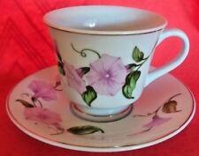 Vintage Teleflora Gift Tea Cup & Saucer set Pink Petunias with Gold Trim