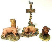 Vintage Schmid BFA Lowell Davis Anne Wall Farm Pig Figurine Lot Of 3