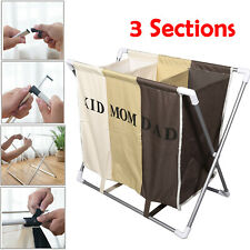 3 Sections Basket Hamper Laundry Foldable Wash Clothes Dirty Storage Bag Bin Us