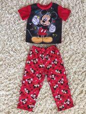 Boys Disney Mickey Mouse Pajamas Set Red/Black Print Size 5T