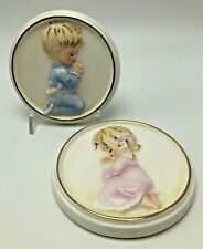 Vintage Lefton Praying Girl and Boy Wall Hanging Plaques 1950's