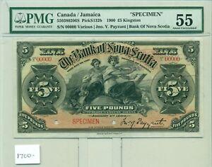 PMG Canada/Jamaica Specimen 1900 Five Pounds Kingston #00000 Bank of Nova Scotia