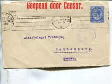 South Africa censor cover to Sweden 1915