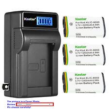 Kastar Battery LCD Wall Charger for KLIC-8000 Kodak Pocket Camera PlaySport ZX1