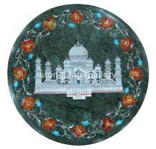 "12"" Marble Top Coffee Table Taj Mahal Art Carnelian Floral Inlay Home Decor B203"