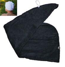 100% algodón toalla de secado rápido de cabello turbante torcedura Wrap Bucle Botón Sombrero Gorra Negro