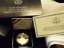 2004 Thomas Alva Edison Commemorative Proof Dollar w/Box And COA