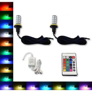 H11 27 SMD RGB Multi-Color Changing Shift Led Fog DRL Light Bulb IR Pair