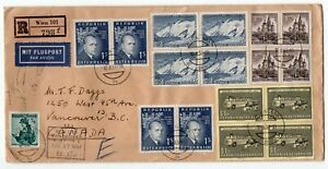 Austria 1957 Multiple Franking - Registered Airmail Cover to Vancouver BC Canada