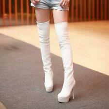 Women Sexy Platform Stiletto Super High Heel Over Knee Boots Round Toe Shoes