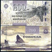 FAEROE ISLANDS 200 KRONUR 2011/2012 P 31 NEW SIGN + SECURITY UNC