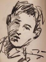 JOSE TRUJILLO Original Charcoal Paper Sketch Drawing 11X17 SIGNED Realist COA