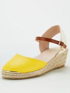 Miss KG Kurt Geiger Lea Espadrilles Wedges Sandals Shoes UK Size 5 Yellow New
