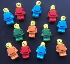 12 x Edible lego men cake cupcake decorations toppers  - any COLOUR your choice