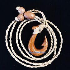 HAWAII Jewelry Hawaiian KOA WOOD Fish Hook Polynesian Pendant Choker Necklace