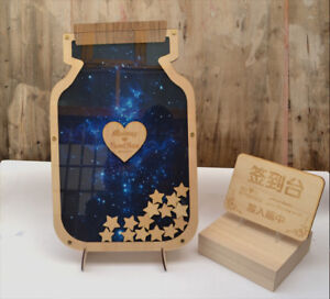 Personalized Wedding Guest Reception Book Sign-in Pens Wooden Hearts Bottle 2020