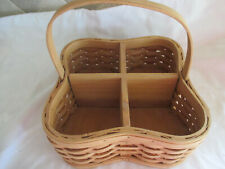 Silverware/Beverage Caddy/Basket Woven Wood