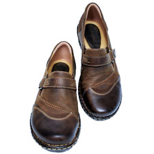 NEW Earth Beetlebug Women 9.5M 41 Loafer Shoes Leather Cap Toe Slipon Flat Brown