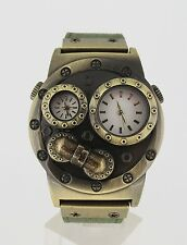 Verne Voyage Watch: Japan brass steampunk design dual (two) travel time zone