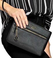 NWT GUESS ADRIANNA WRISTLET BAG Black Logo Clutch Pouch Handbag Wallet GENUINE