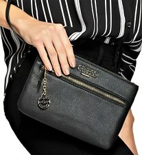 NWT GUESS ADRIANNA WRISTLET BAG Black Logo Clutch Pouch Handbag Wallet GENUINE