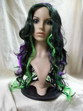 Sexy Multicolor Wig Black Green Purple Wicked Witch Oz Zombie Radioactive Joker