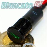 SPIA LED 12mm CON SIMBOLO START VERDE 12V ALLUMINIO NERO pc car indicator light