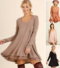 UMGEE Sweater Dress Ruffle Hem Long Sleeve Loose Shift Swing Black Tunic Top