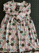 NWOT HANNA ANDERSSON L/S Dress Aqua/Pink Floral Sz 120 (6/8)