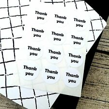 Black and White thank you, Simple thank you, Round thank you sticker,