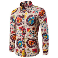 Men's Casual Long Sleeve Shirt Business Slim Fit Shirt Print Blouse Top Fashion