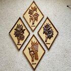 MCM Wood Wall Art Tiki Polynesian Decorative Relief All Four Seasons Teak/Walnut